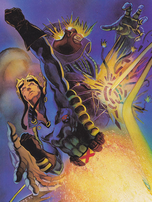 Cannonball (X-Force) (Marvel Comics) rocketing and punching