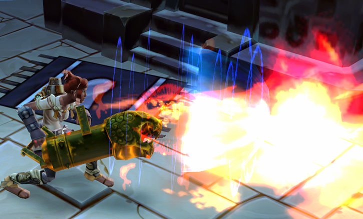 A Torchlight character fires her cannon
