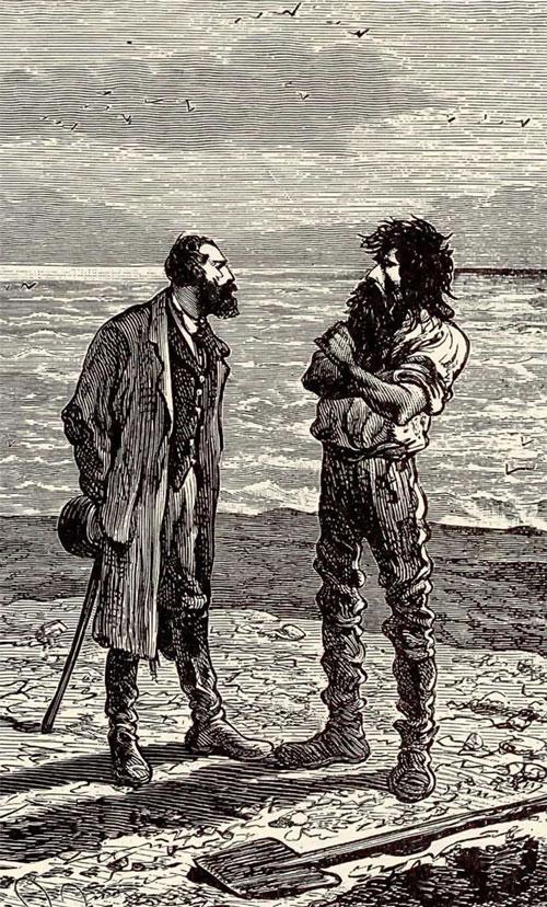 Le Capitain Nemo et Cyrus Smith sur l'Ile Mystérieuse