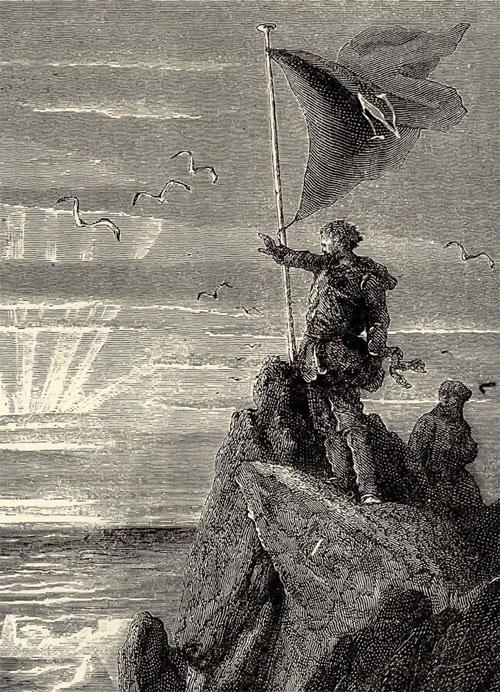 Le Capitaine Nemo hisse son drapeau au pole sud (gravure)