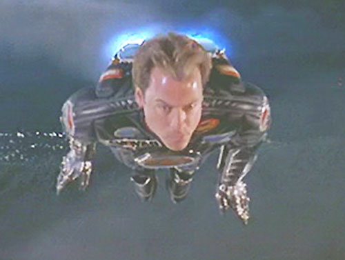 Captain Amazing (Greg Kinnear in Mystery Men) flying with his jetpack