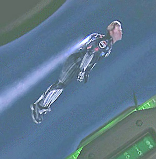 Captain Amazing (Greg Kinnear in Mystery Men) with his jetpack (side view)