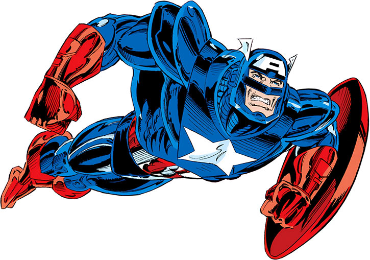 Captain America wearing the body armor from the Fighting Chance story arc