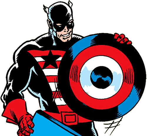 Captain America in the black costume with his new shield