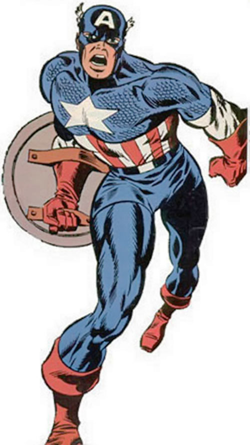 Captain America (Steve Rogers) (Marvel Comics) running, by Steranko
