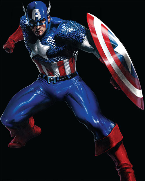 Captain America (Steve Rogers) (Marvel Comics) over a black background