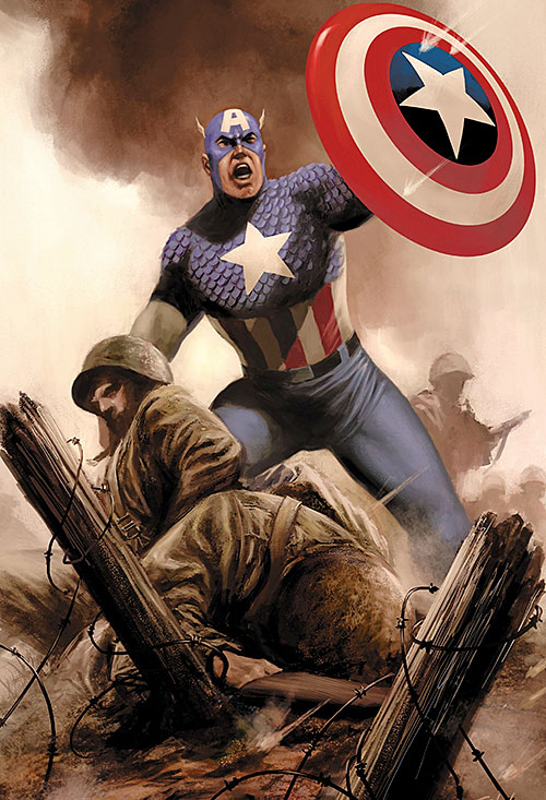 Captain America (Steve Rogers) during World War II, with the troops
