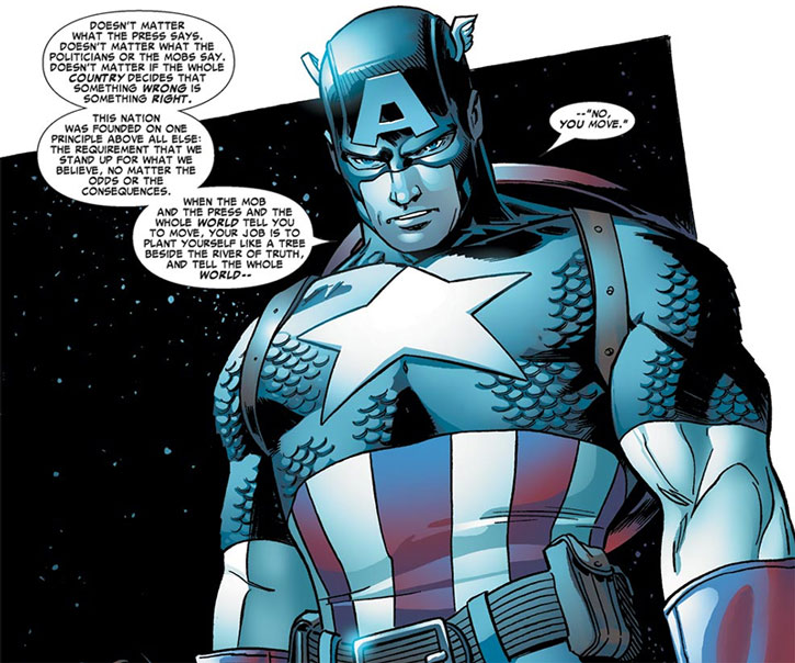 "Captain America (Steve Rogers) making the ""you move"" speech during Civil War"