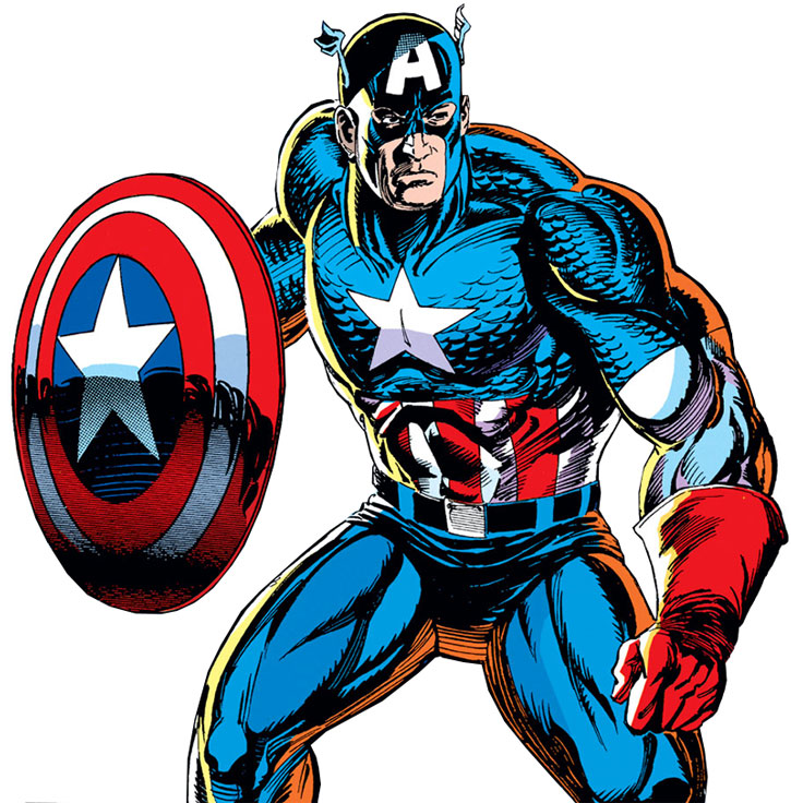 Captain America (Steve Rogers) stands ready