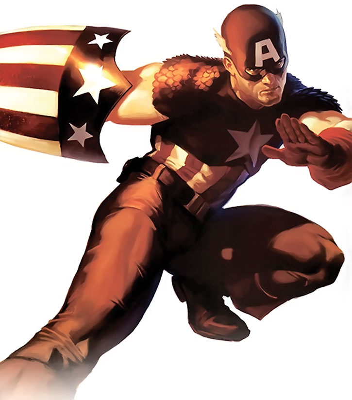 Captain America in the 1940s with the triangular shield