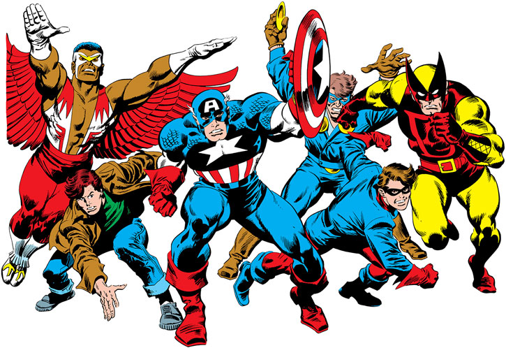 Captain America and his main partners up to the 1990s