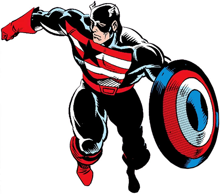 Captain America wearing the black, red and white Captain costume