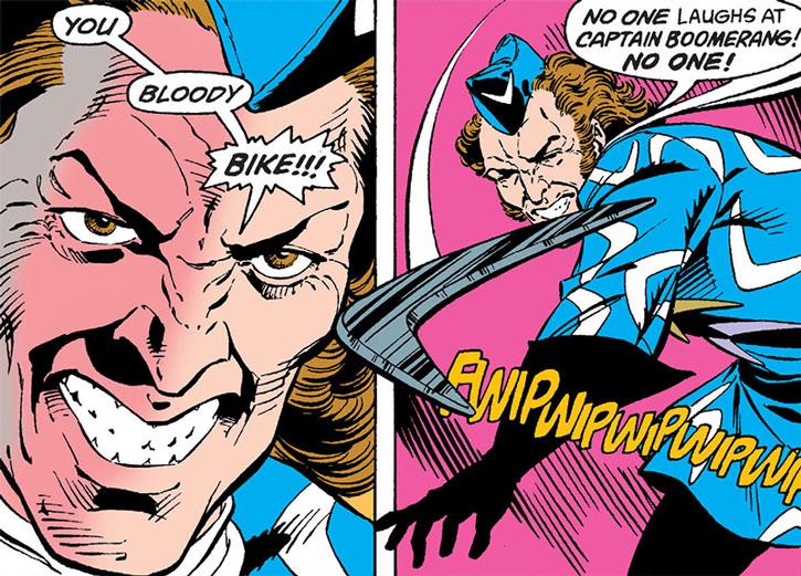 Captain Boomerang throws a boomerang in anger