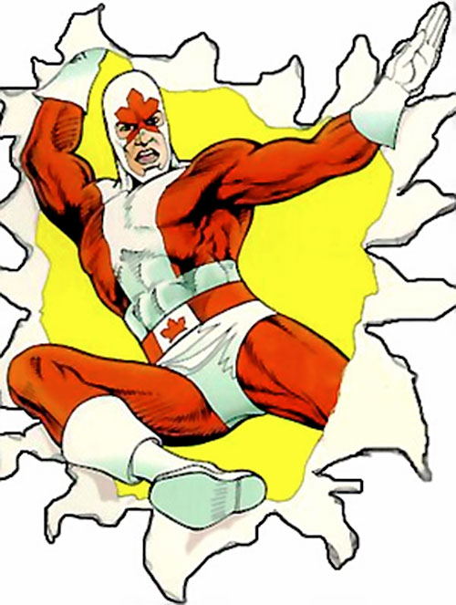 Captain Canuck bursts through the page
