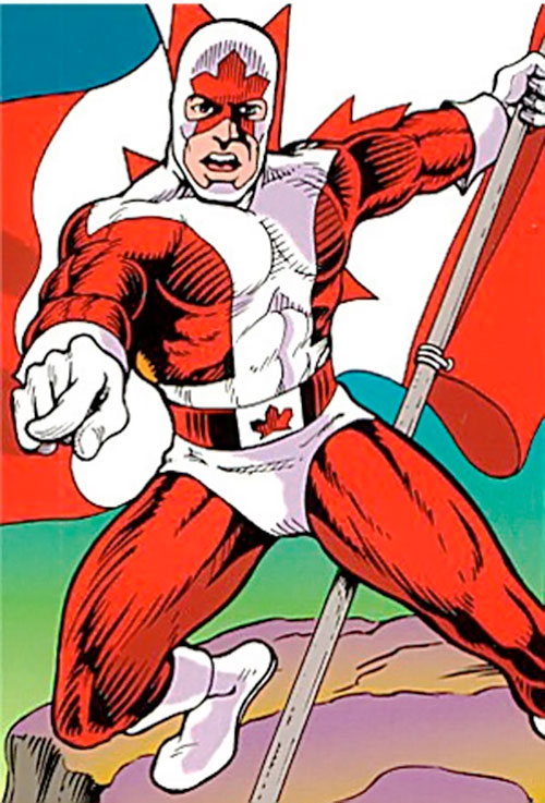 Captain Canuck waving the flag