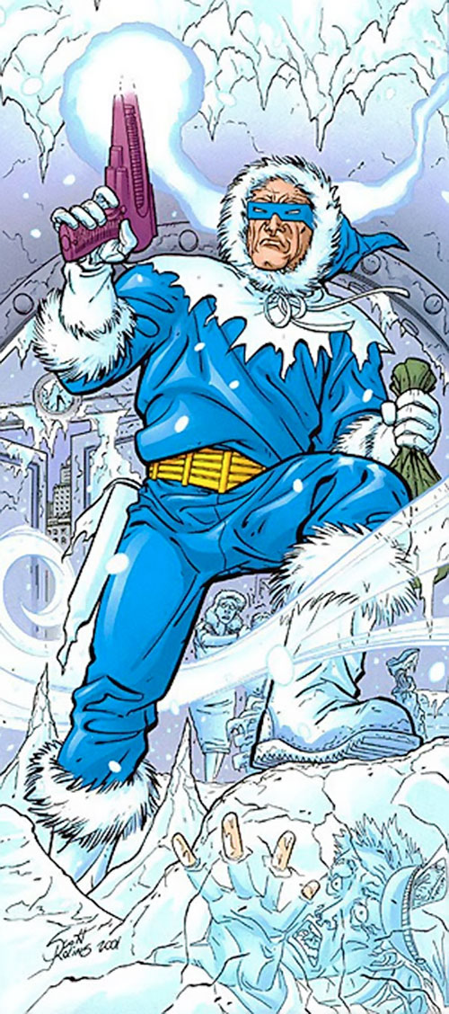 Captain Cold of Flash's Rogues (DC Comics) among frozen people
