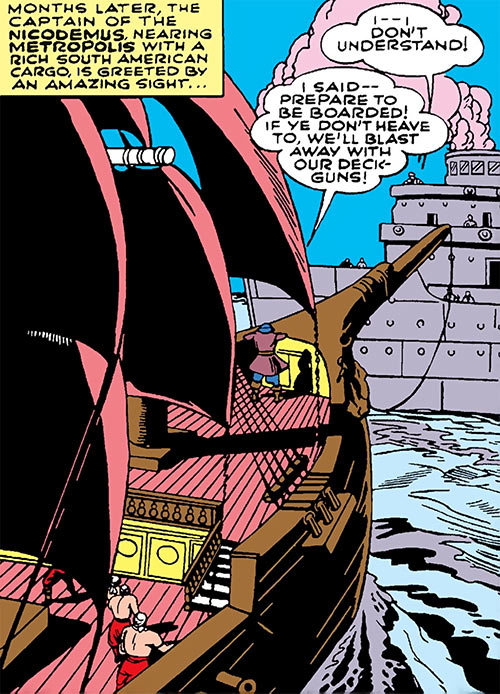 Captain Ironfist in Action Comics (Superman enemy, 1942) boarding ship