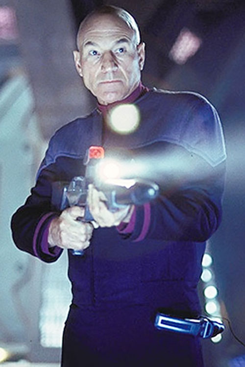 Captain Picard (Patrick Stewart) with a phaser rifle