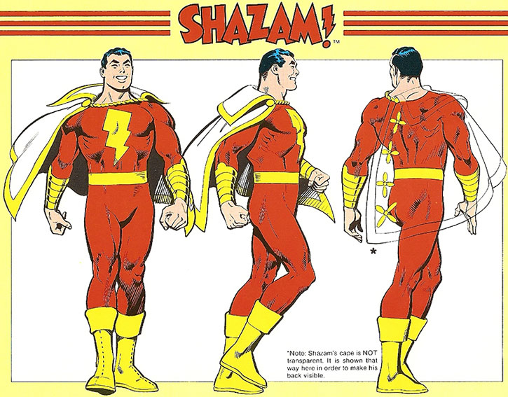 Captain Marvel (Billy Batson) model sheet and coloring guide