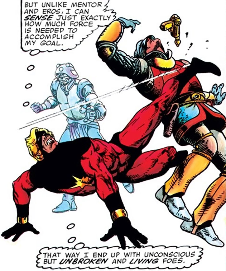 Captain Marvel (Mar-Vell) drop kicks a soldier