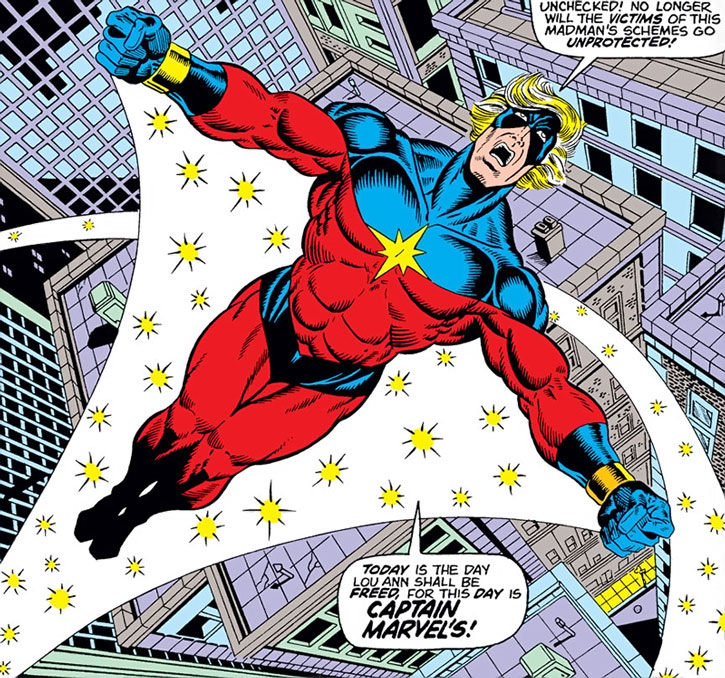 Captain Marvel (Mar-Vell) flies above the city