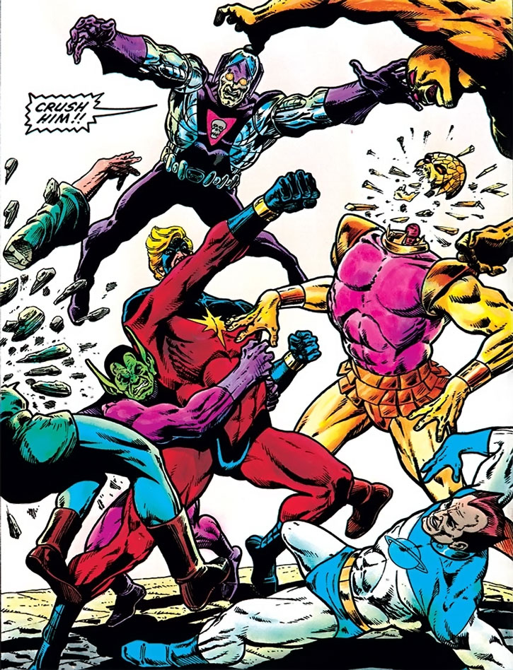 Captain Marvel (Mar-Vell) fights some of his signature enemies