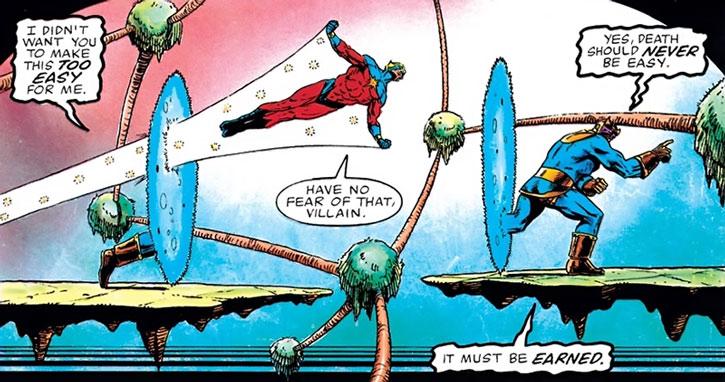 Captain Marvel (Mar-Vell) chases Thanos