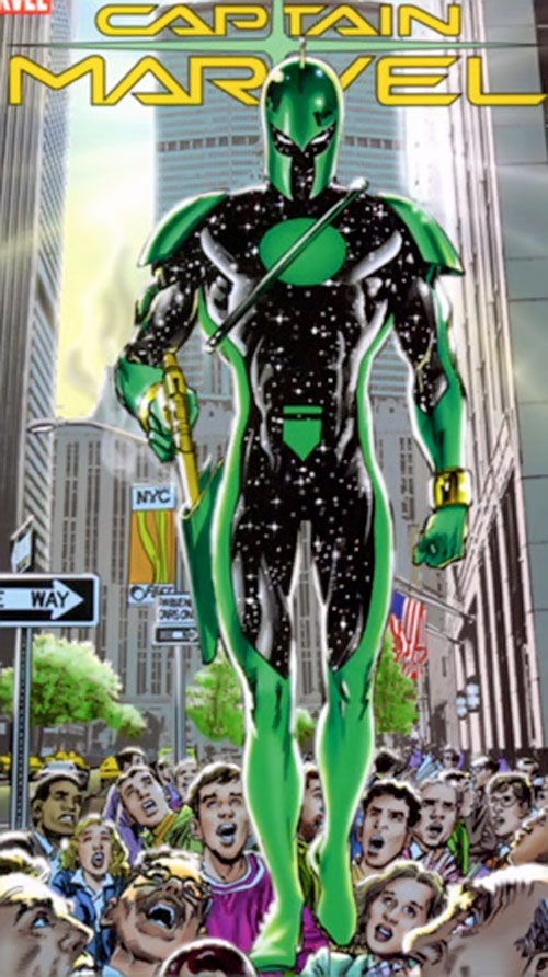 Captain Marvel (Genis Vell) (Marvel Comics) in the Kree costume in Manhattan