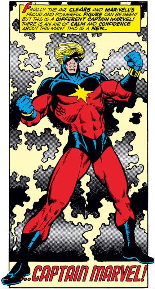 Captain Mar-Vell (Marvel Comics) bathed in energy