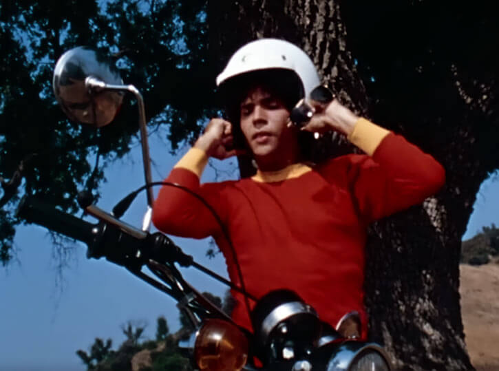 Captain Marvel Shazam live action 1970s series - Billy with motorbike helmet