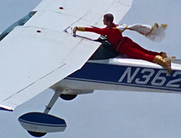 Captain Marvel Shazam live action 1970s series - Cap flying alongside a small plane