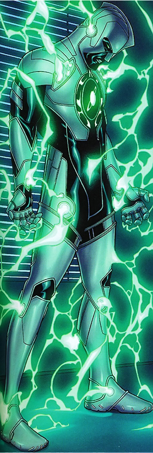 Ultimate Captain Marvel (Marvel Comics) bathed in green energy