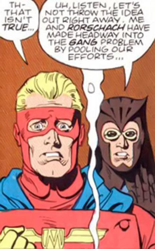 Captain Metropolis of the Minutemen (Alan Moore's Watchmen comics) and the Owl