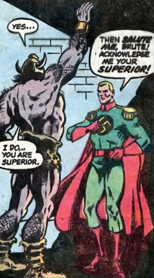 Captain Nazi (Captain Marvel enemy) (1970s DC Comics) and a mind-controlled King Kull
