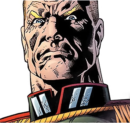 Captain Nazi (JSA / Captain Marvel enemy) (DC Comics) haughty face closeup