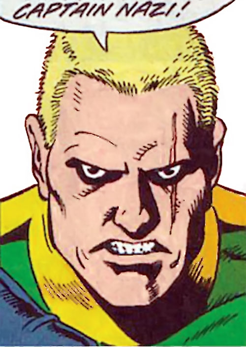 Captain Nazi (JSA / Captain Marvel enemy) (DC Comics) scarred face closeup