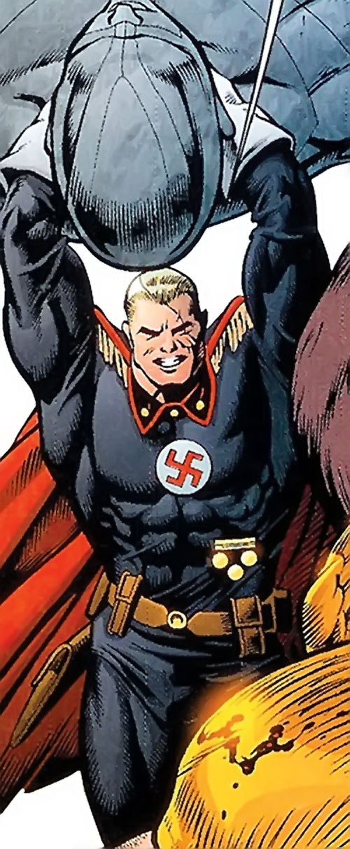 Captain Nazi (JSA / Captain Marvel enemy) (DC Comics) wielding a huge statue as a weapon