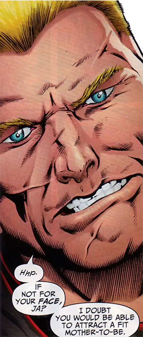 Captain Nazi (JSA / Captain Marvel enemy) (DC Comics) face closeup