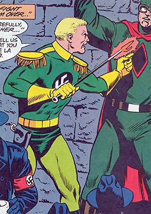 Captain Nazi (JSA / Captain Marvel enemy) (DC Comics) about to torture Spy-Smasher