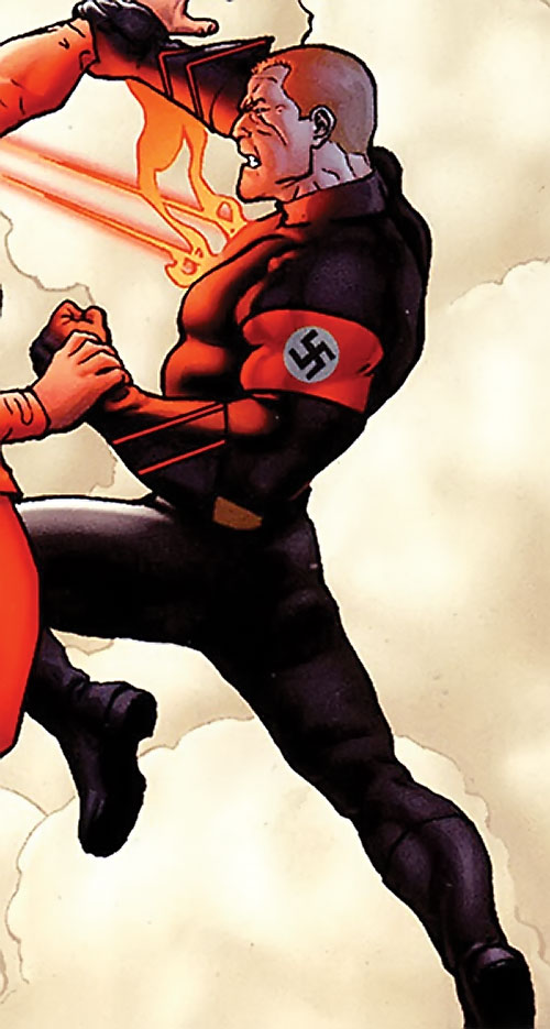 Captain Nazi (JSA / Captain Marvel enemy) (DC Comics) in a black uniform with red armband