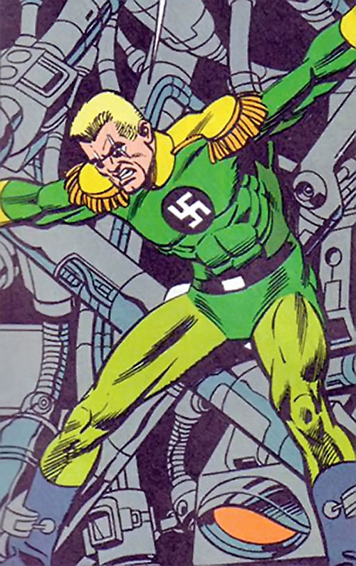 Captain Nazi (JSA / Captain Marvel enemy) (DC Comics) held prisoner by machinery