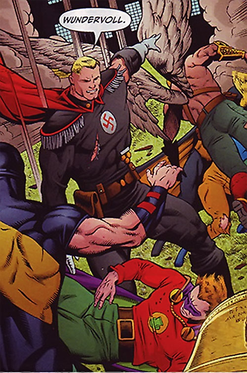 Captain Nazi (JSA / Captain Marvel enemy) (DC Comics) fights the JSA