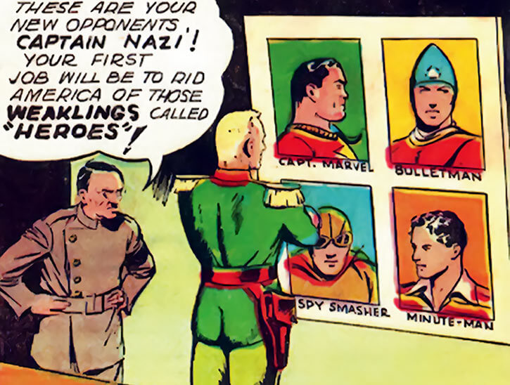 Captain Nazi (1940s) looks at the Fawcett Comics heroes