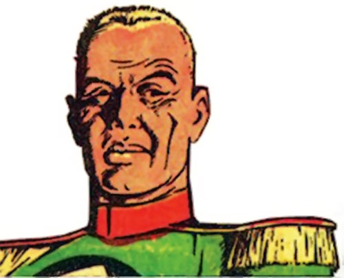 Captain Nazi (Captain Marvel enemy) (Golden Age DC Comics) face closeup over a white background