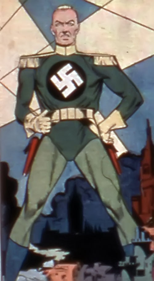 Captain Nazi (Captain Marvel enemy) (Golden Age DC Comics) striding over a cityscape