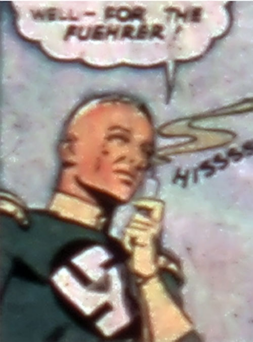 Captain Nazi (Captain Marvel enemy) (Golden Age DC Comics) breathing in his flying gas