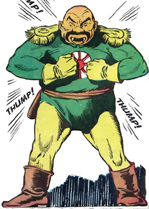 Captain Nippon (Captain Marvel enemy) (Golden Age DC Comics) green and yellow uniform, beating his chest