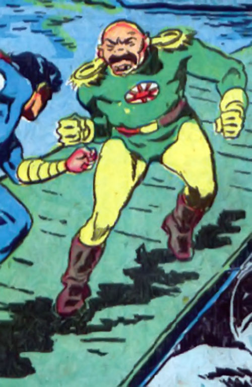 Captain Nippon (Captain Marvel enemy) (Golden Age DC Comics) green uniform, vs. Captain Marvel Jr.