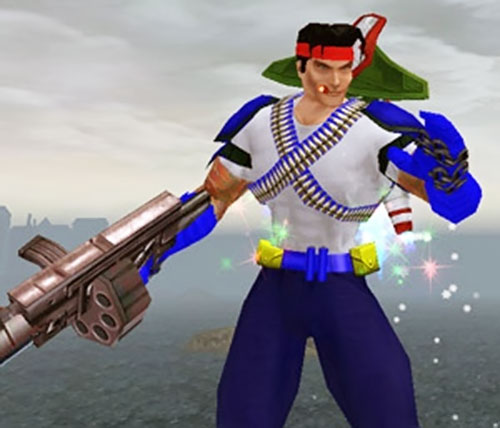 Captain Sweden (City of Heroes model) flying with his jetpack and gun