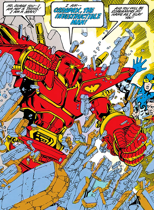 Carapax the indestructible Man (Blue Beetle enemy) (DC Comics) charging through a wall